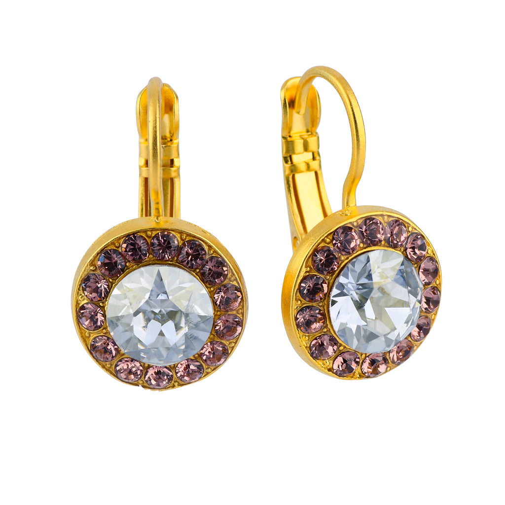 "Mariana Jewelry ""Creme Brulee"" Gold Plated Petite Circle Crystal Drop Earrings"