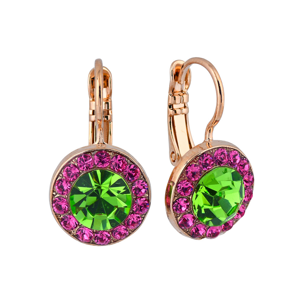 "Mariana Jewelry ""Tutti Frutti"" Rose Gold Plated Crystal Petite Circle Drop Earrings"