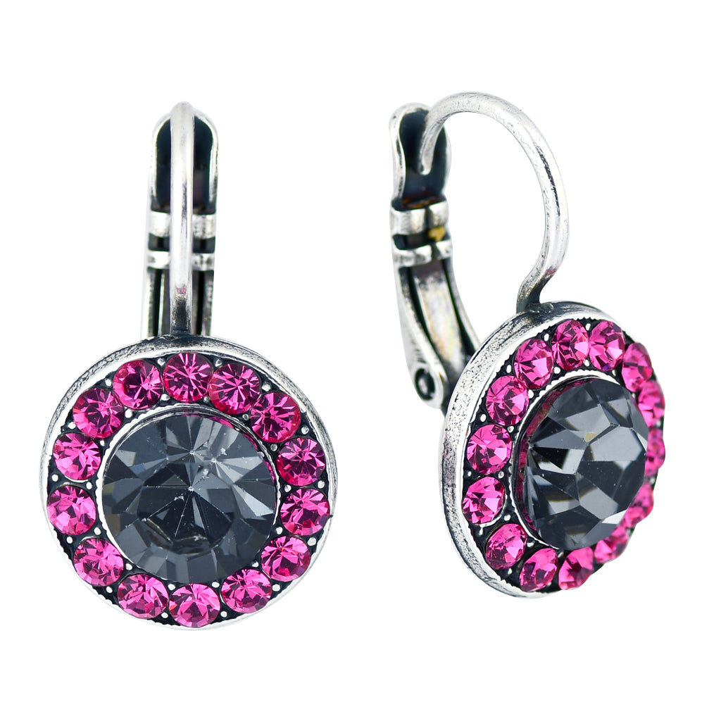 "Mariana ""Peppermint"" Silver Plated Crystal Petite Circle Drop Earrings"
