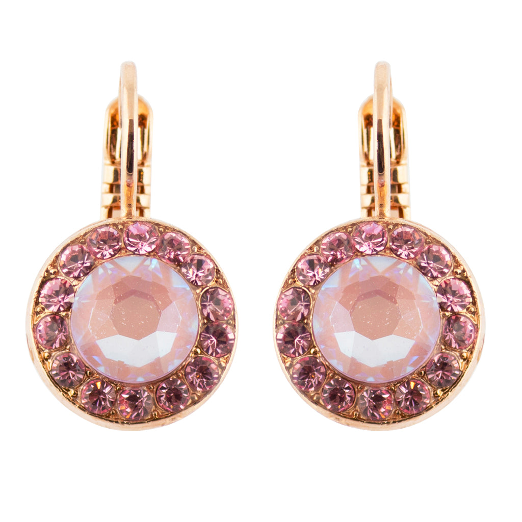 Mariana Lavender Rose Gold Plated Crystal Petite Circle Drop Earrings