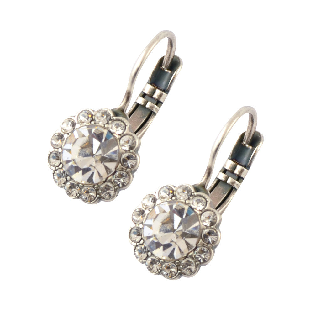 Mariana On A Clear Day Silver Plated Round Flower Drop Earrings 1133 001001