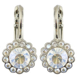Mariana Moonlight Rhodium Plated Round Flower Drop Earrings