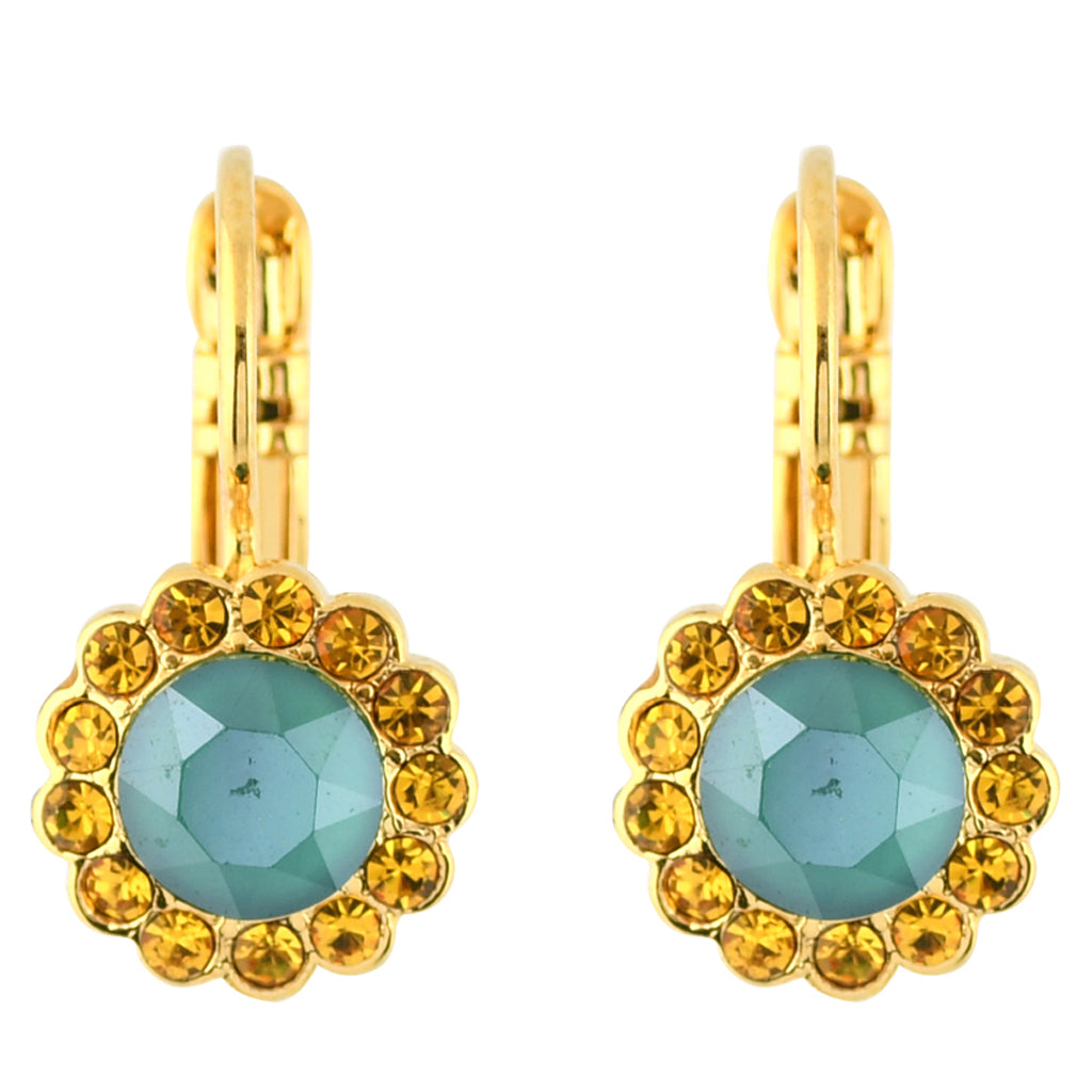 Mariana Jewelry Holiday Lights Gold Plated Round Flower Drop Earrings 1133