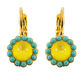 Mariana Poppy Gold Plated Round Flower Drop Earrings 1133
