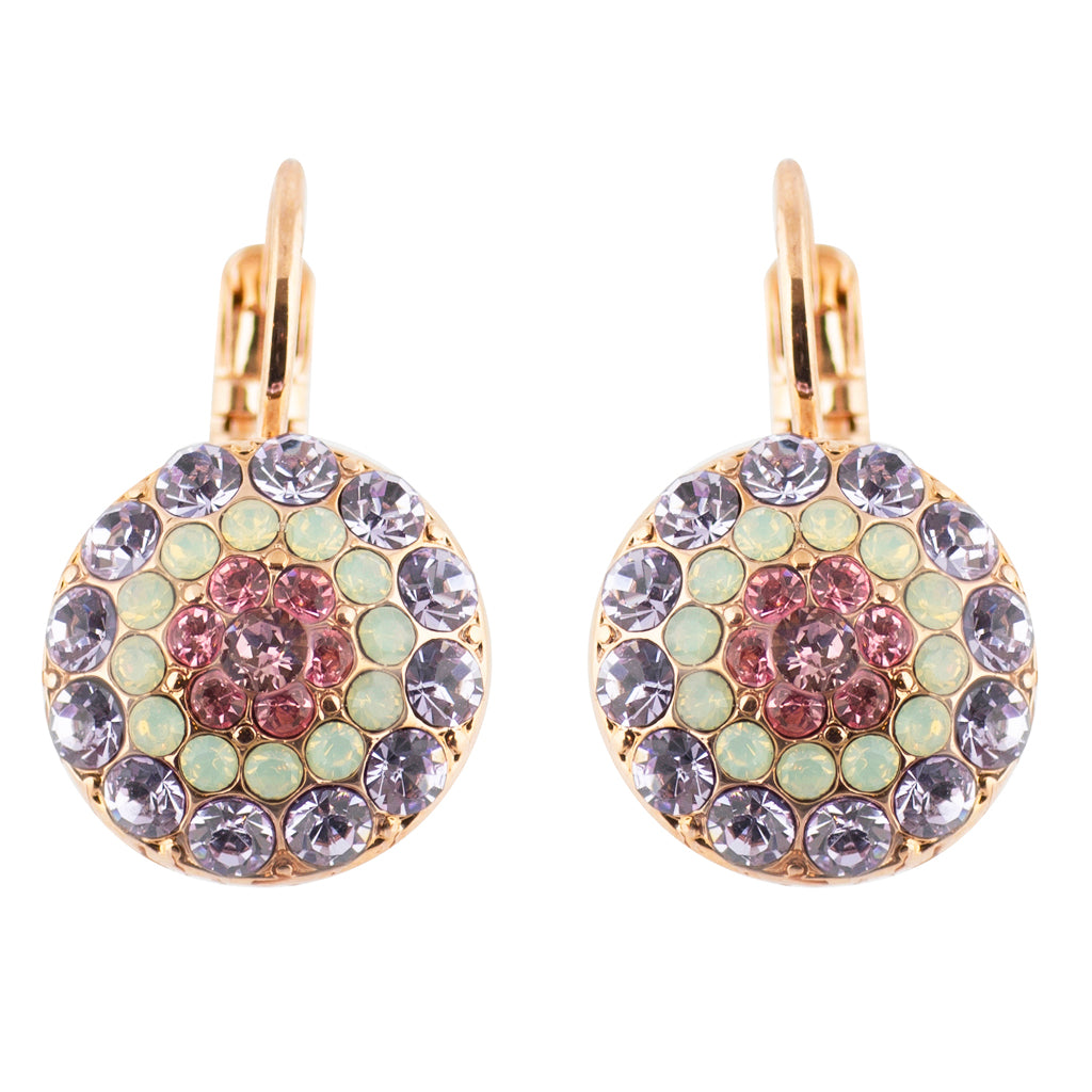 "Mariana ""Lavender"" Rose Gold Plated Circle Crystal Drop Earrings"