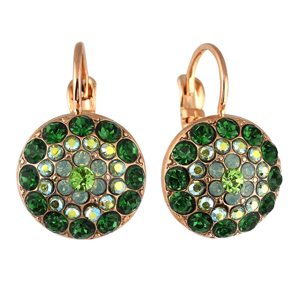 Mariana Jewelry Fern Earrings, Rose Gold Plated with Swarovski Crystal, Nature Collection MAR-E-1141 2143 RG6