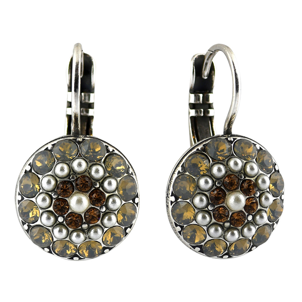 Mariana Jewelry Champagne and Caviar Earrings, Silver Plated with Swarovski Crystal, Nature Collection MAR-E-1141 3911 SP6