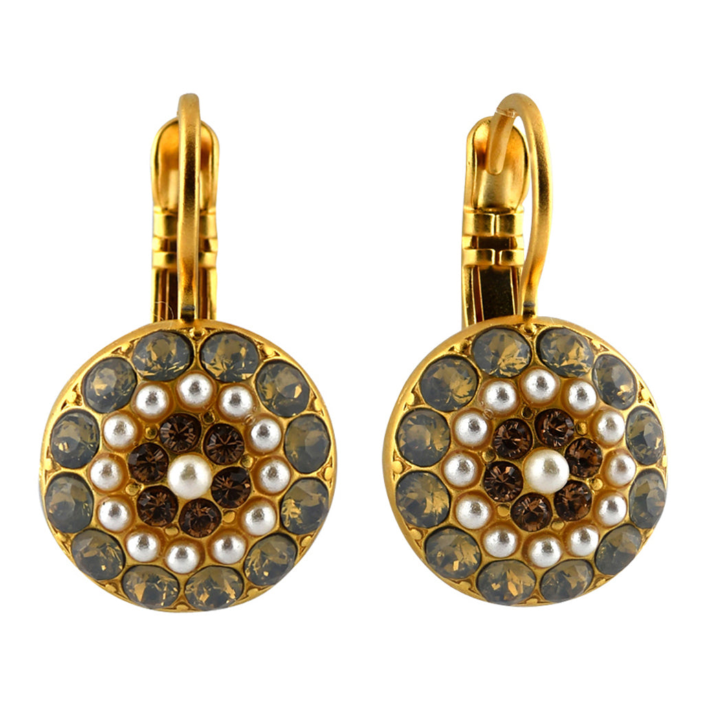 Mariana Jewelry Champagne and Caviar Earrings, Gold Plated with Swarovski Crystal, Nature Collection MAR-E-1141 3911 YG6