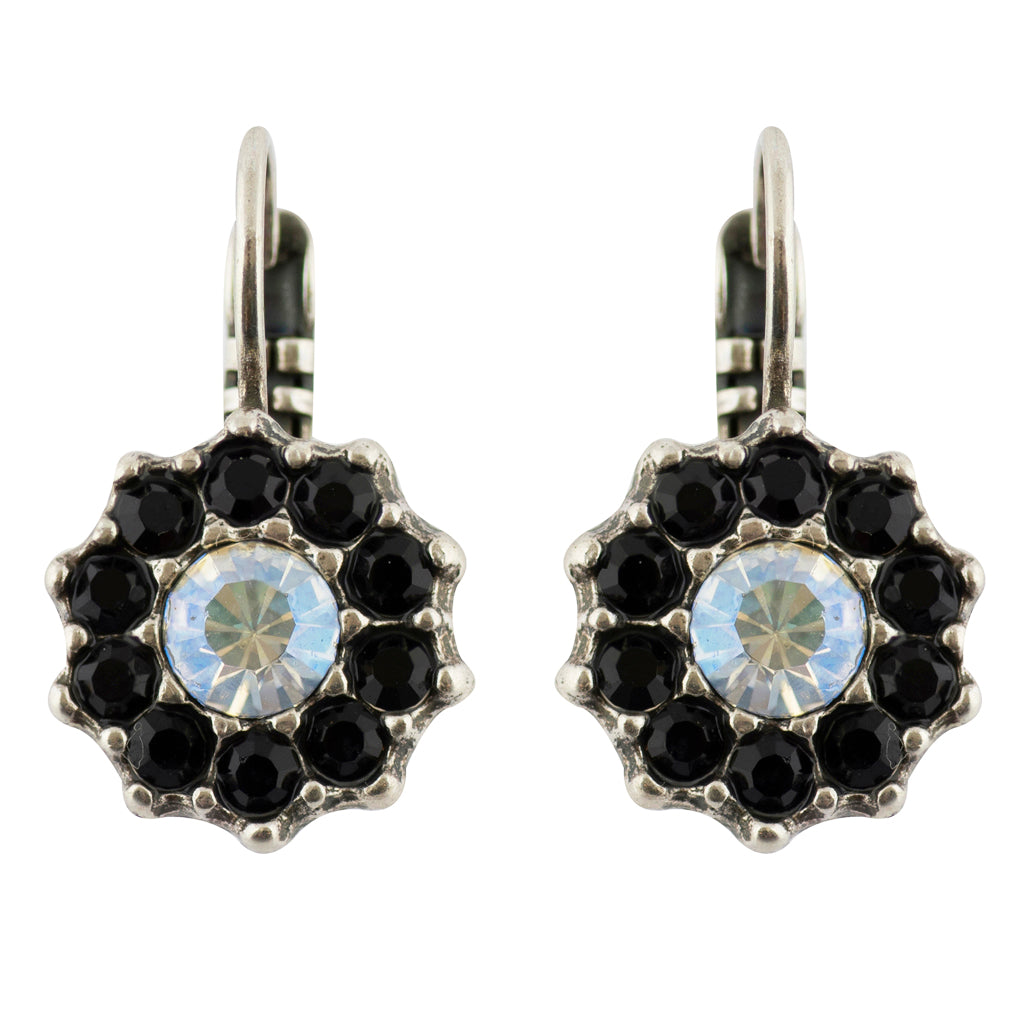 "Mariana ""Black Orchid"" Silver Plated Crystal Flower Drop Earrings"