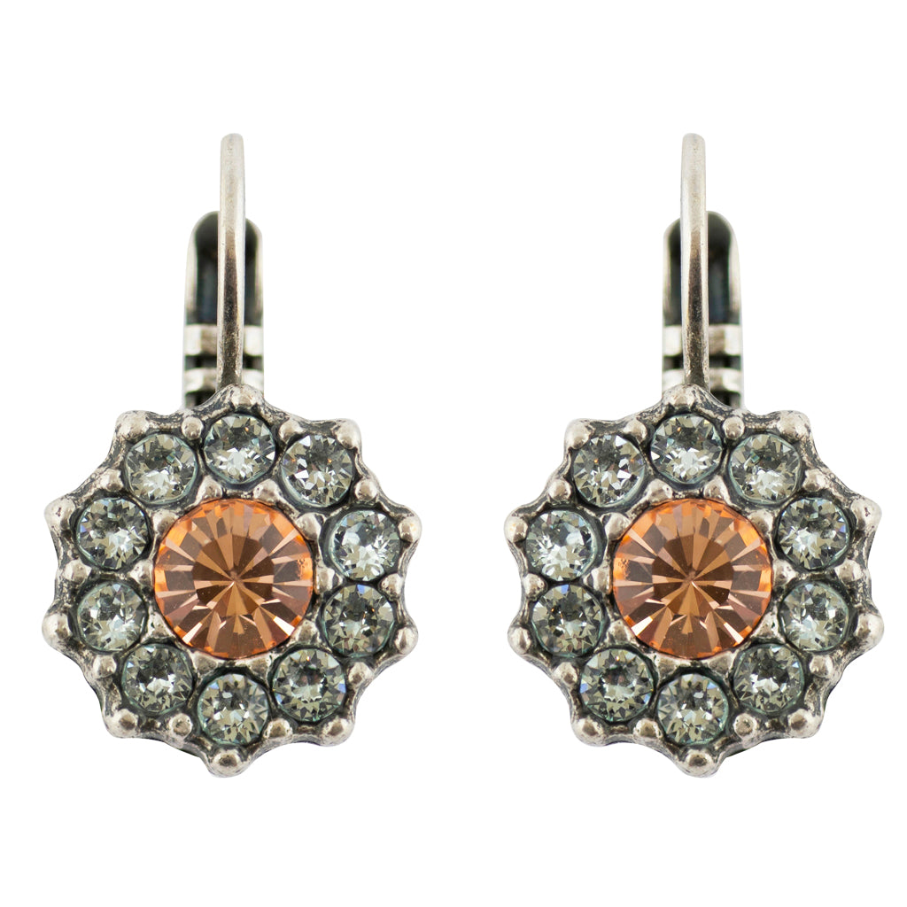 "Mariana ""Sweet Pea"" Silver Plated Crystal Flower Drop Earrings"