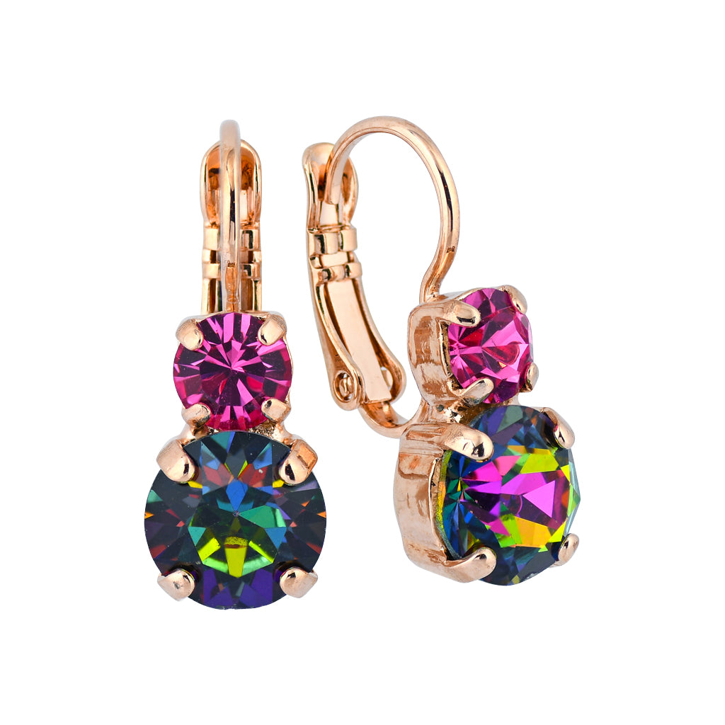 "Mariana Jewelry ""Tutti Frutti"" Rose Gold Plated Petite Round Crystal Drop Earrings"