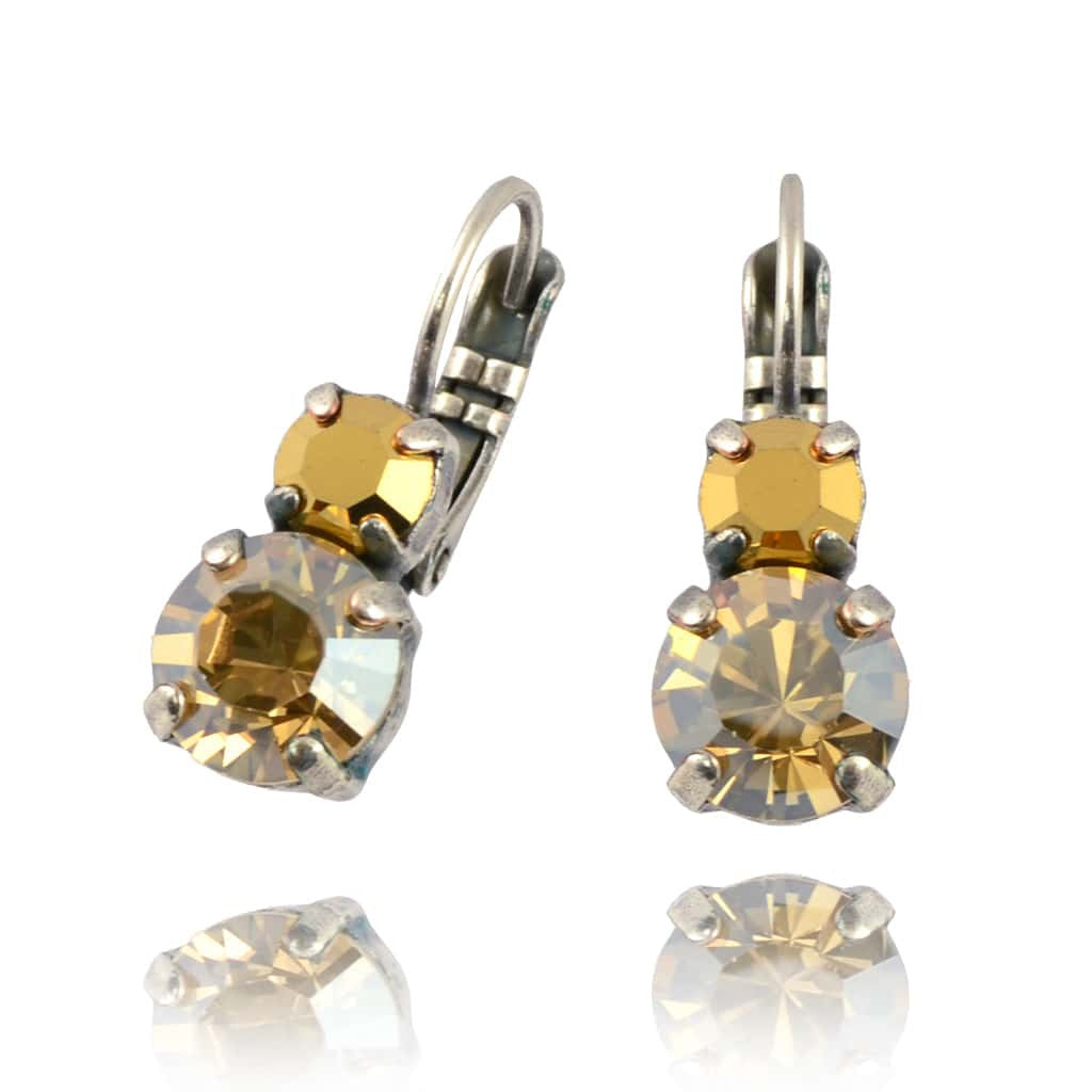 Mariana Silver Plated Petite Round Swarovski Crystal Drop Earrings in Light Colorado Fawn and Clear
