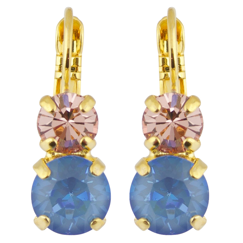Mariana Blue Morpho Gold Plated Crystal Petite Round Drop Earrings