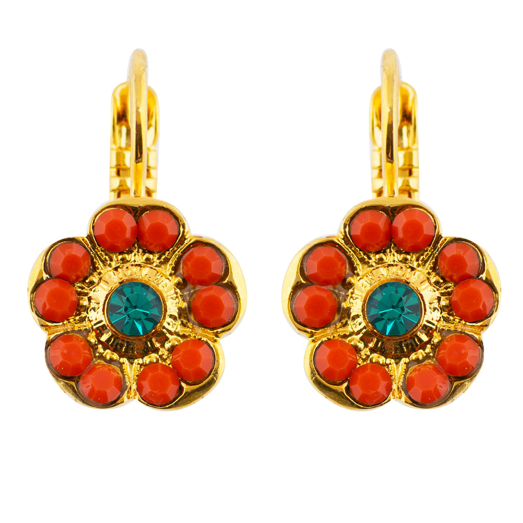 Mariana Poppy Gold Plated Crystal Rounded Square Drop Earrings