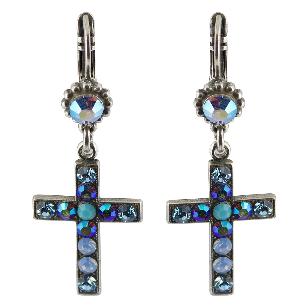 Mariana Diana Silver Plated Crystal Jewel and Cross Dangle Earrings