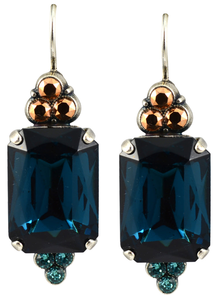 Mariana Jewelry Blue Suede Shoes Silver Plated Rectangle Swarovski Crystal Drop Earrings