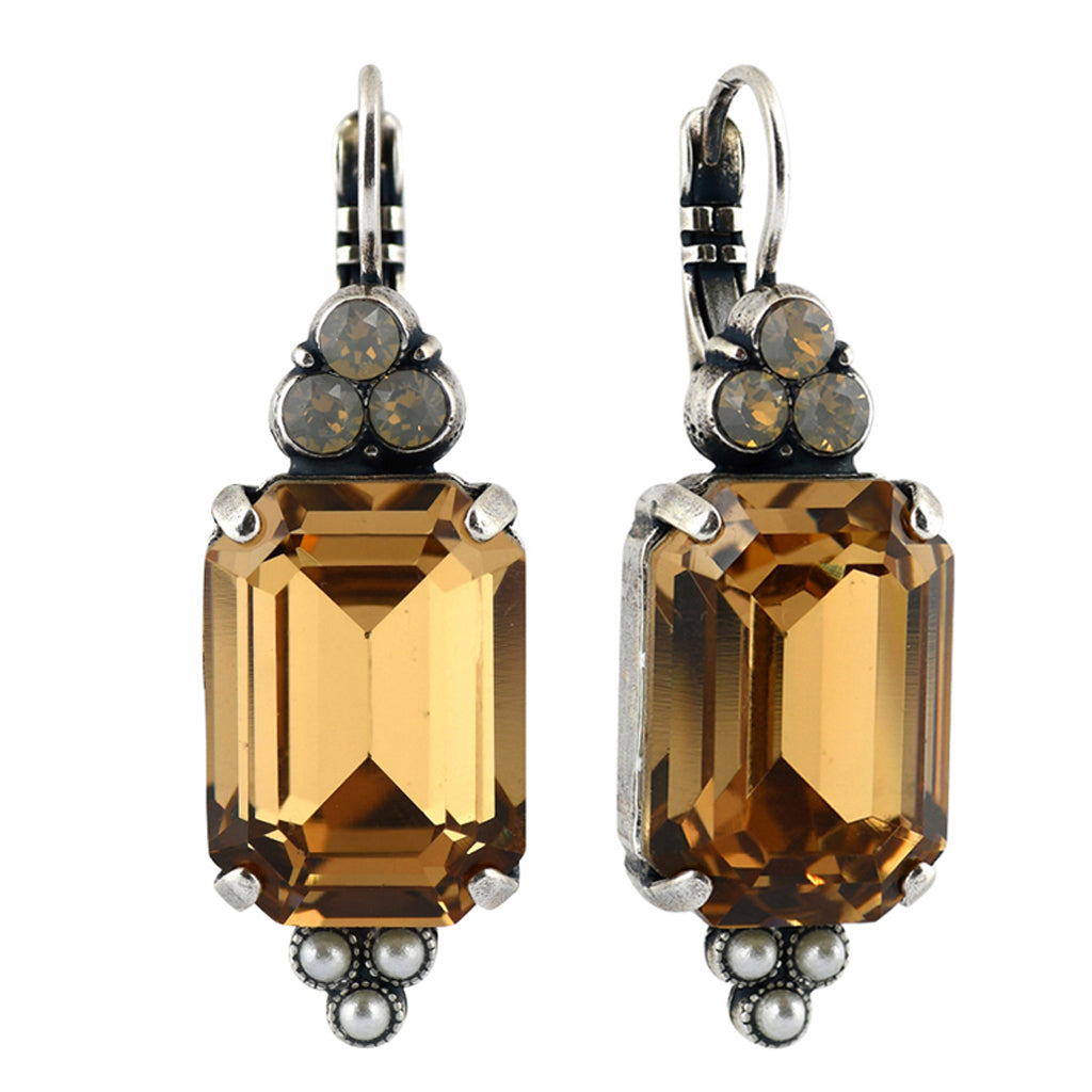 Mariana Jewelry Champagne and Caviar Earrings, Silver Plated with Swarovski Crystal, Nature Collection MAR-E-1283 3911 SP6