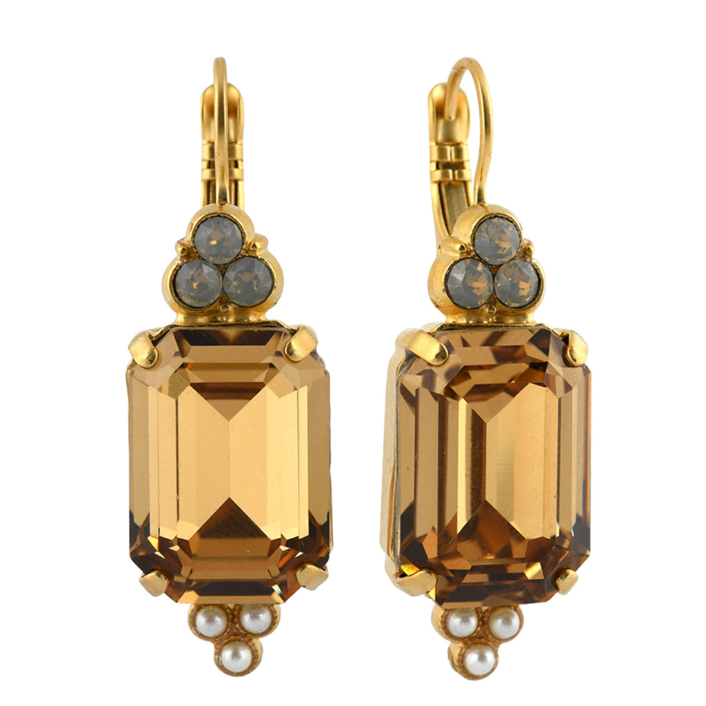 Mariana Jewelry Champagne and Caviar Earrings, Gold Plated with Swarovski Crystal, Nature Collection MAR-E-1283 3911 YG6