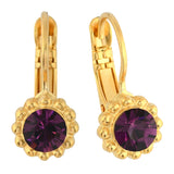 Mariana Jewelry Purple Earrings, Gold Plated with Swarovski Crystal, Nature Collection MAR-E-1303 204 YG6