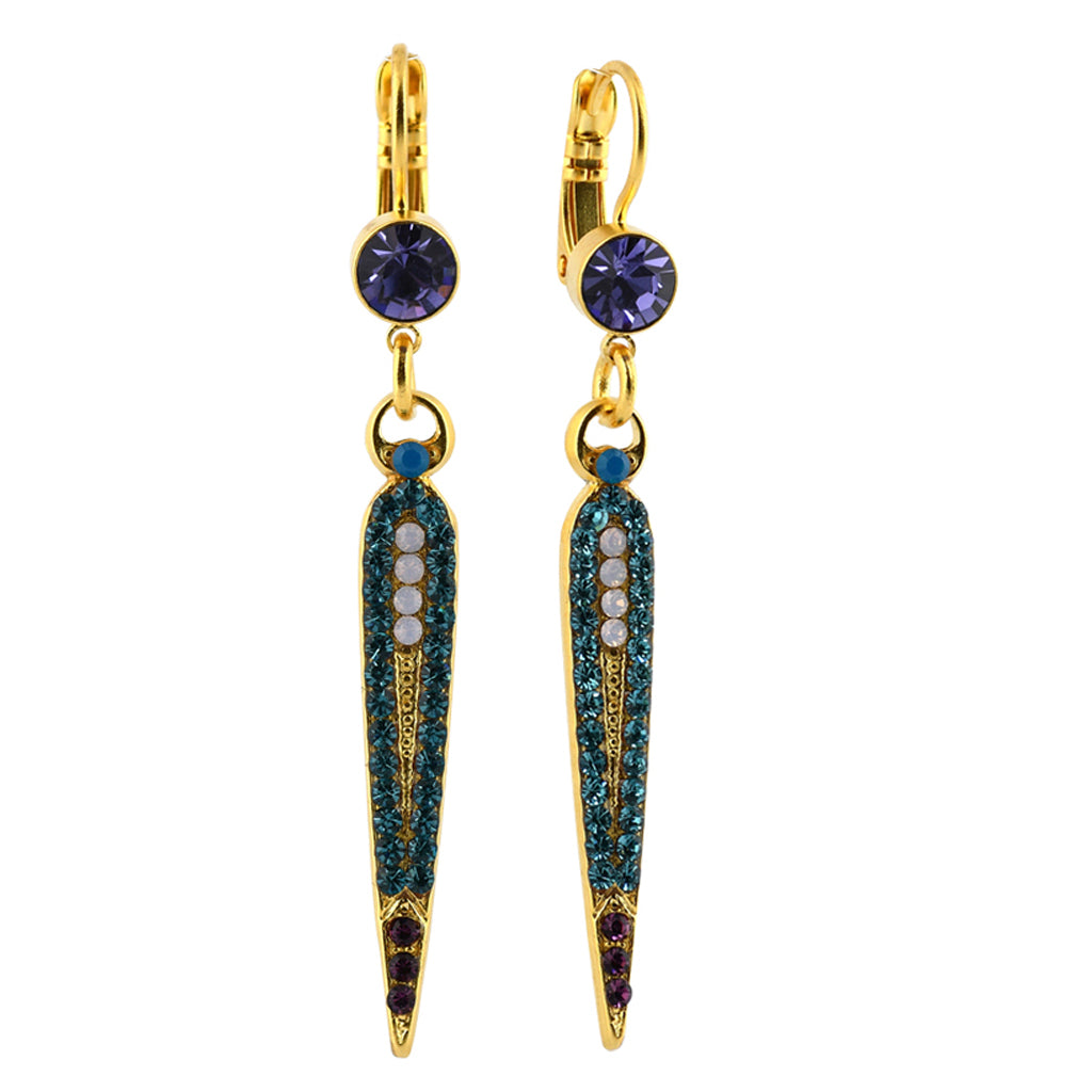 Mariana Jewelry Peacock Earrings, Gold Plated with Swarovski Crystal, Nature Collection MAR-E-1304 2139 YG6
