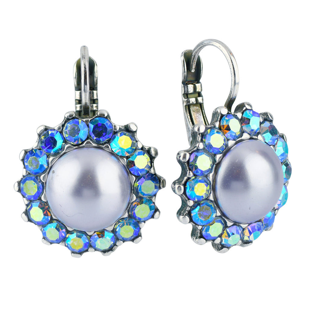 "Mariana Jewelry ""Macaroon"" Silver Plated Crystal Sunflower Drop Earrings"