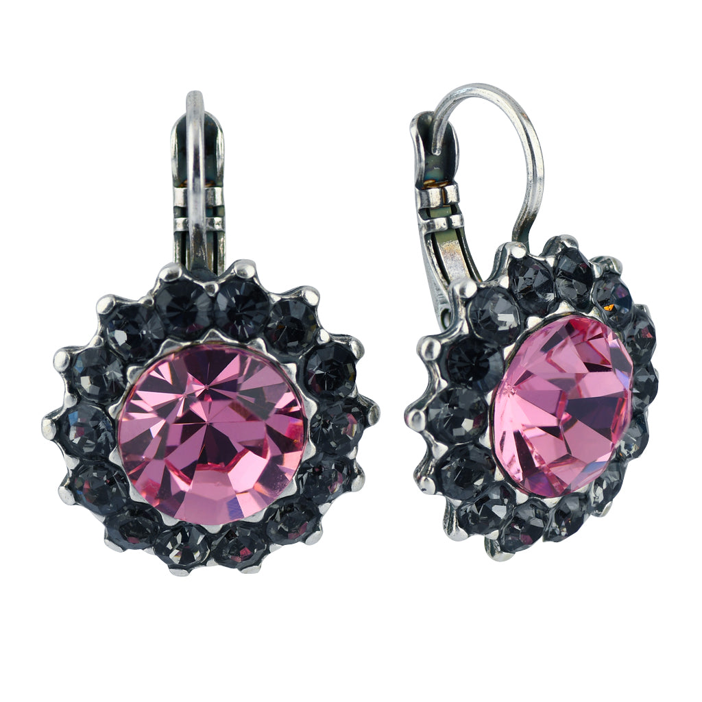 Mariana Jewelry Peppermint Silver Plated Crystal Sunflower Drop Earrings
