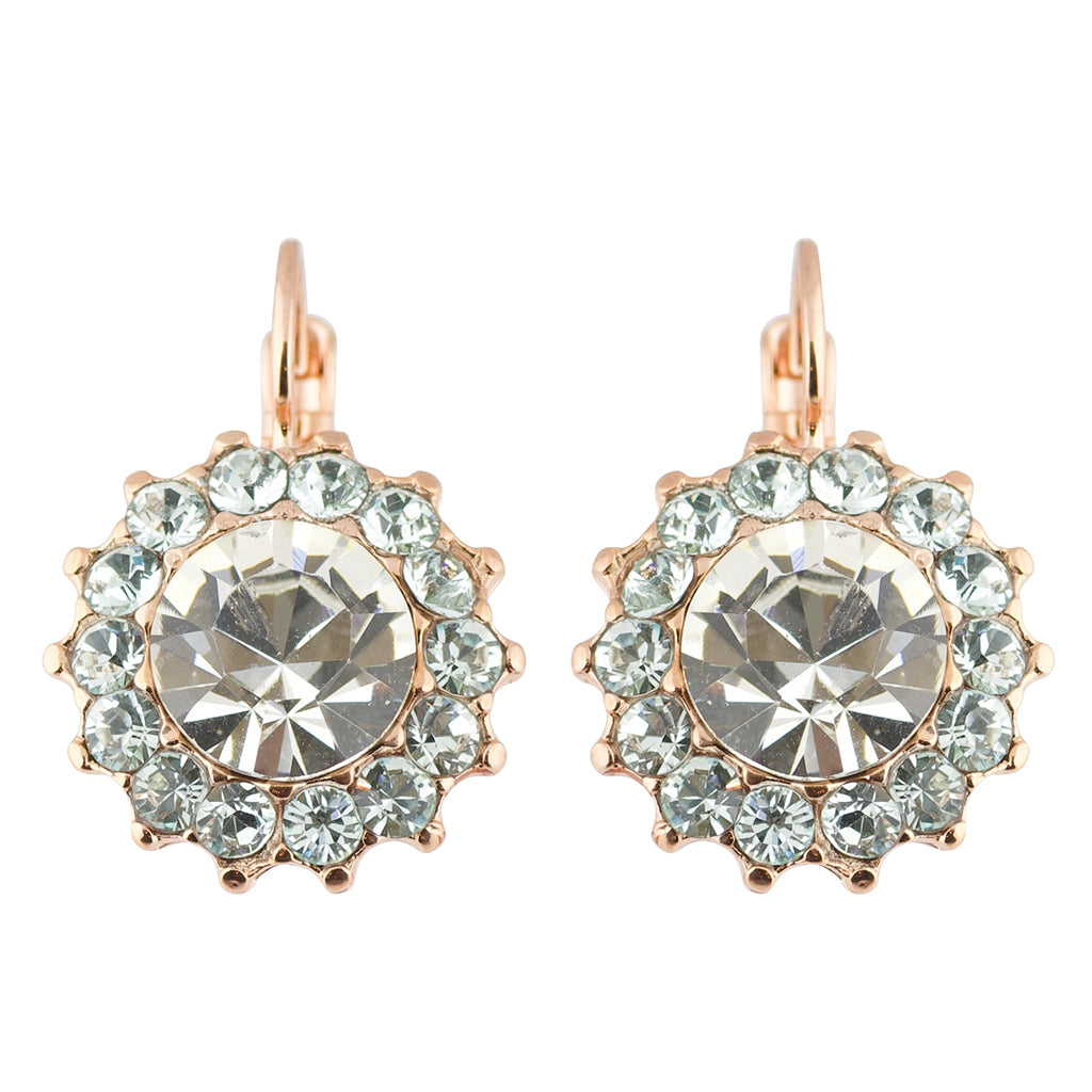 "Mariana""Seashell"" Rose Gold Plated Crystal Sunflower Drop Earrings"