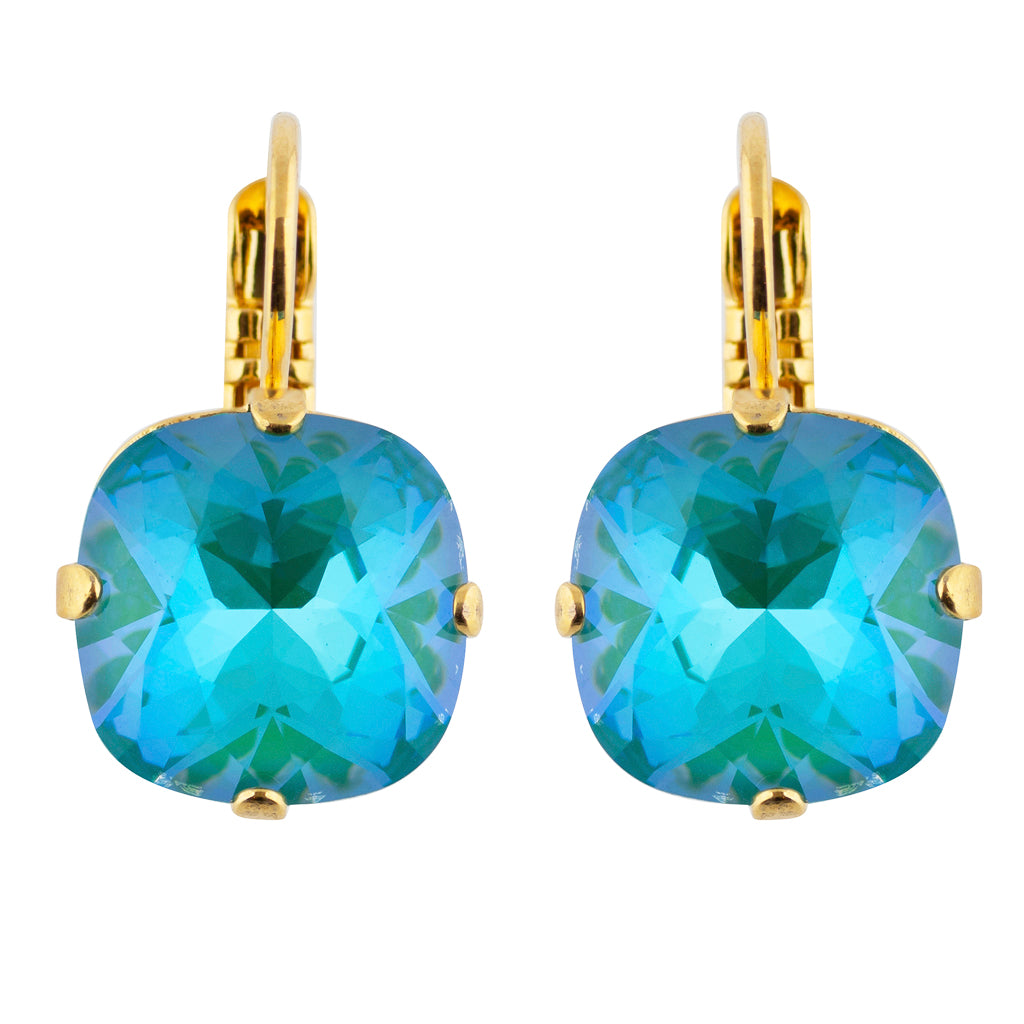 Mariana Gold Plated Crystal Rounded Square Drop Earrings