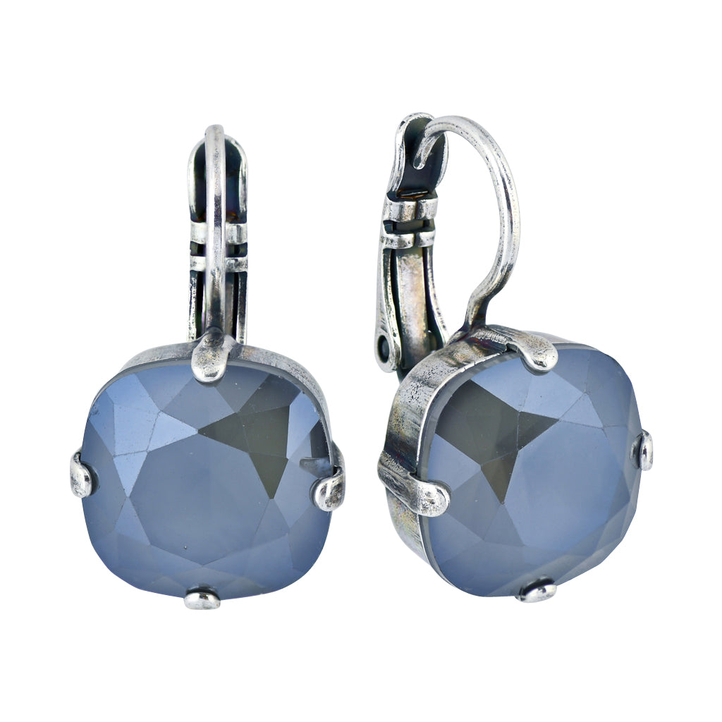 Mariana Peppermint Silver Plated Crystal Rounded Square Drop Earrings