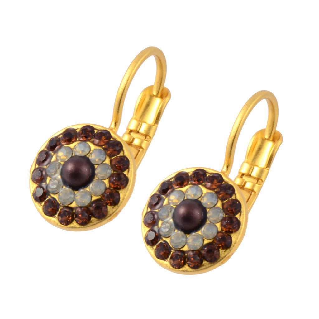 Mariana Aphrodite Gold Plated Concentric Drop Earrings 1344 1318
