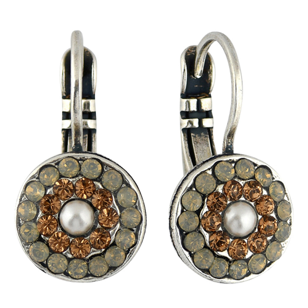 Mariana Jewelry Champagne and Caviar Earrings, Silver Plated with Swarovski Crystal, Nature Collection MAR-E-1344 3911 SP6