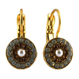 Mariana Jewelry Champagne and Caviar Earrings, Gold Plated with Swarovski Crystal, Nature Collection MAR-E-1344 3911 YG6