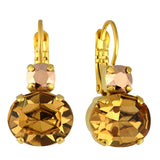 Mariana Jewelry Caramel Earrings, Gold Plated with Swarovski Crystal, Nature Collection MAR-E-1350 137 YG6