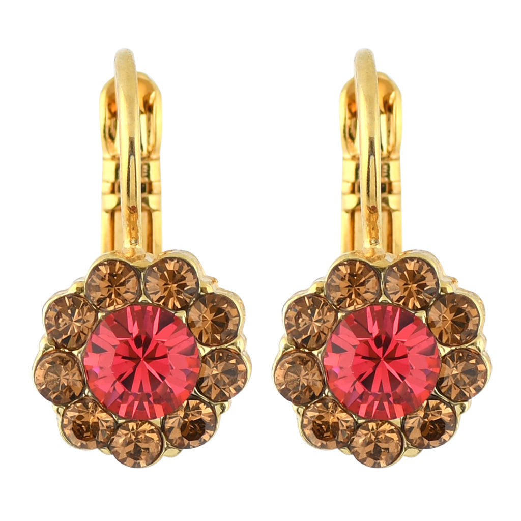 Mariana Jewelry Gingerbread Small Flower Drop Earrings, Gold Plated 1379