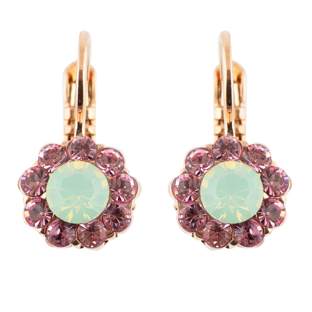 Mariana Lavender Small Flower Drop Earrings, Rose Gold Plated 1379