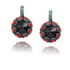 Mariana Jewelry St Barths Silver Plated Sunflower Drop Earrings with Orange/Black Crystals