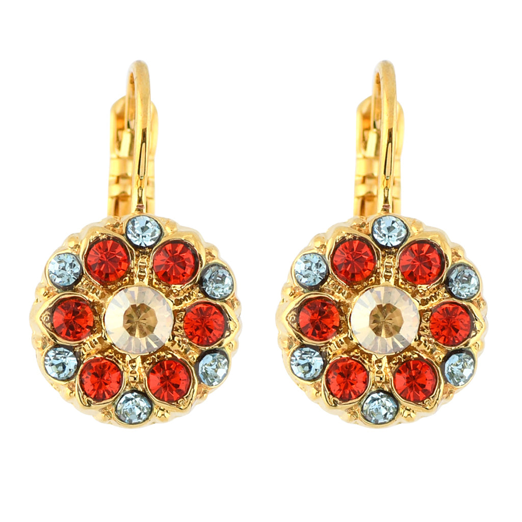 Mariana Jewelry Tinsel Gold Plated Green Crystal Round Flower Drop Earrings 1401