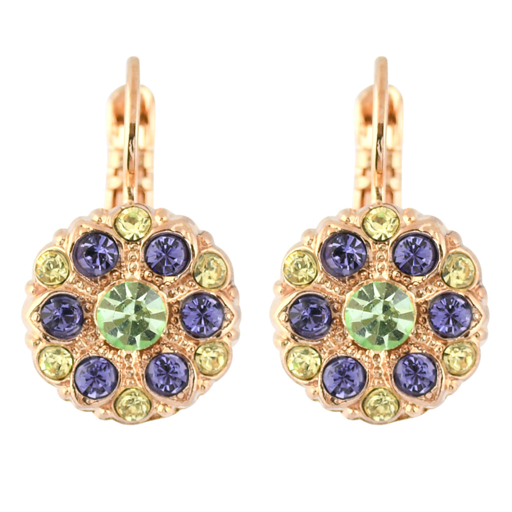 "Mariana Jewelry ""Eggnog"" Rose Gold Plated Crystal Round Flower Drop Earrings"