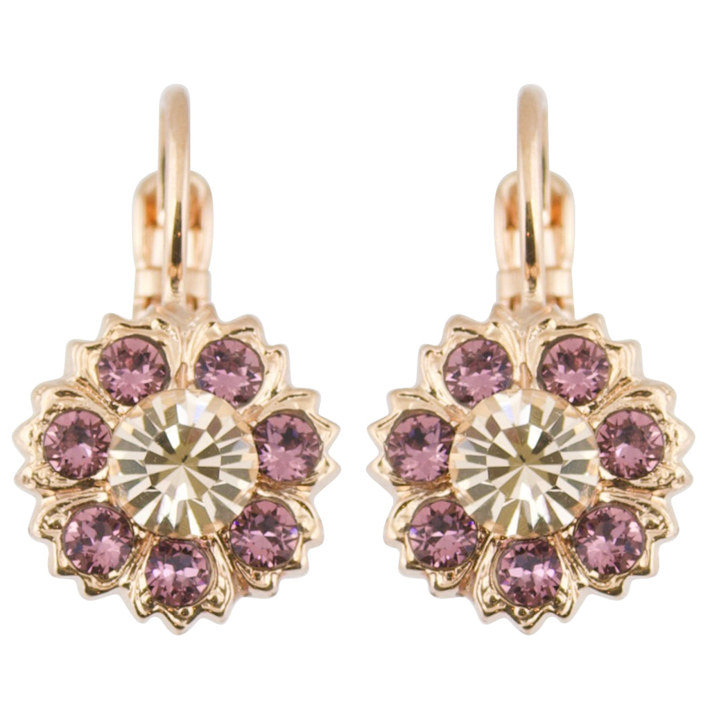 "Mariana ""Meadow Brown"" Rose Gold Plated Flower Petal Crystal Drop Earrings"