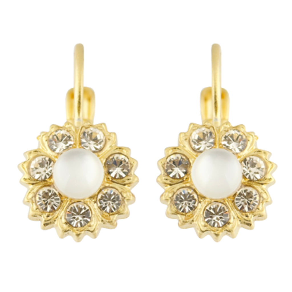 Mariana Barbados Gold Plated Flower Petal Crystal Drop Earrings