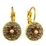 Mariana Jewelry Champagne and Caviar Earrings, Gold Plated with Swarovski Crystal, Nature Collection MAR-E-1416 3911 YG6