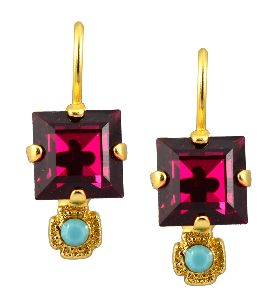 Mariana Jewelry Gold Plated Happy Days Petite Square Fuchsia and Aqua Swarovski Crystal Drop Earrings