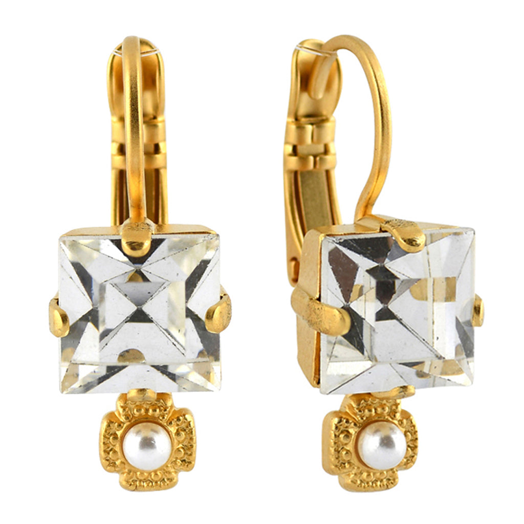 Mariana Jewelry Champagne and Caviar Earrings, Gold Plated with Swarovski Crystal, Nature Collection MAR-E-1419 3911 YG6