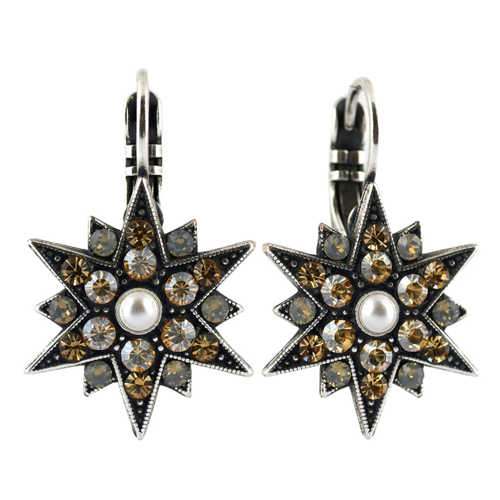 Mariana Jewelry Champagne and Caviar Earrings, Silver Plated with Swarovski Crystal, Nature Collection MAR-E-1420 3911 SP6