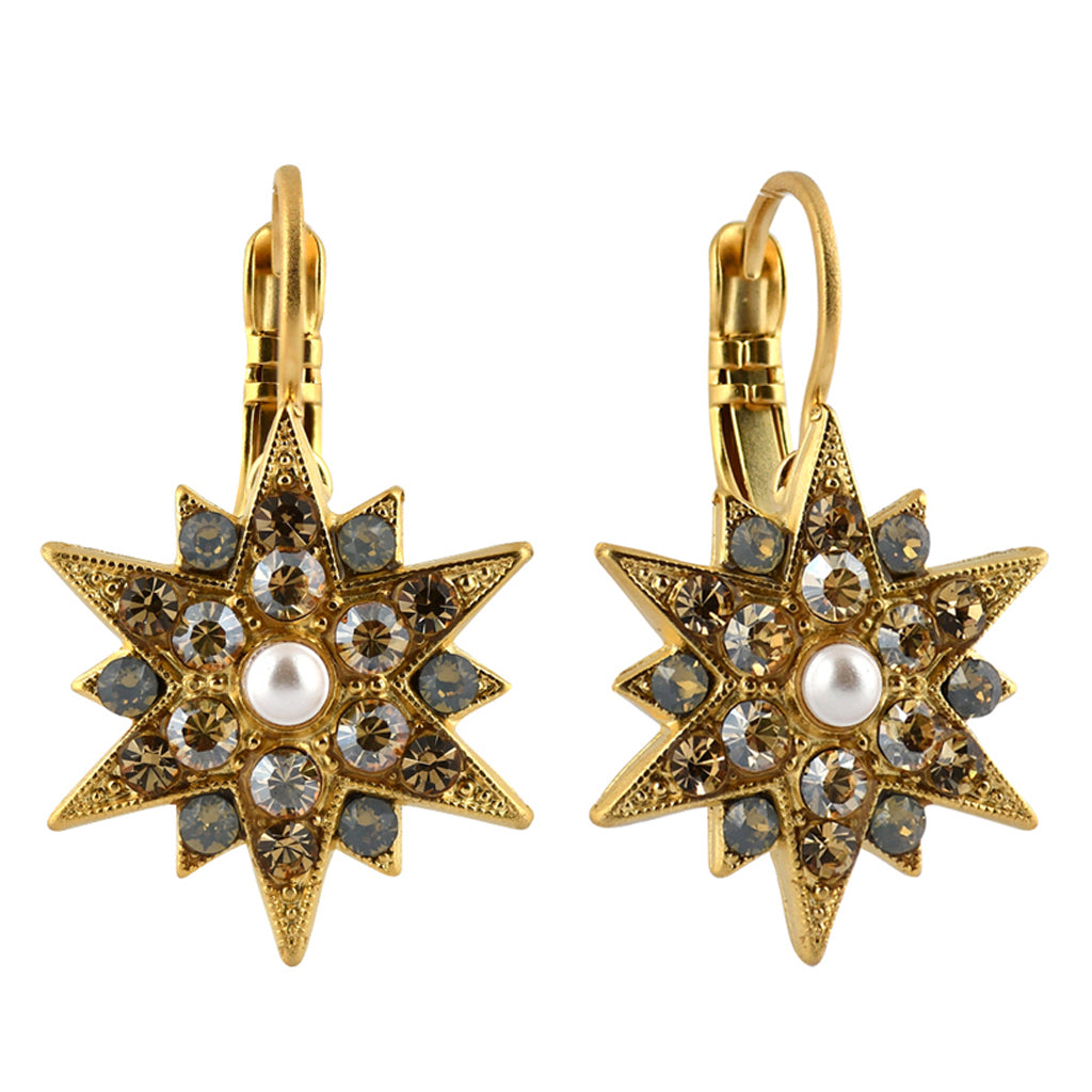 Mariana Jewelry Champagne and Caviar Earrings, Gold Plated with Swarovski Crystal, Nature Collection MAR-E-1420 3911 YG6