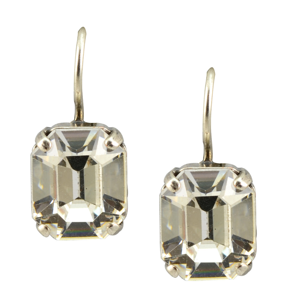 Mariana Silver Plated Swarovski Crystal Rectangle Drop Earrings