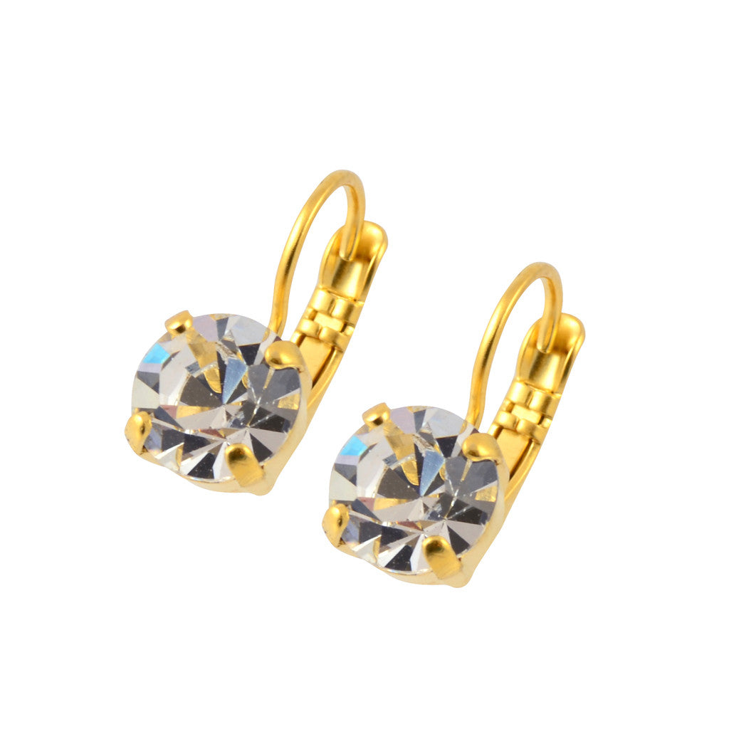 Mariana Gold Plated Petite Round Swarovski Crystal Drop Earrings
