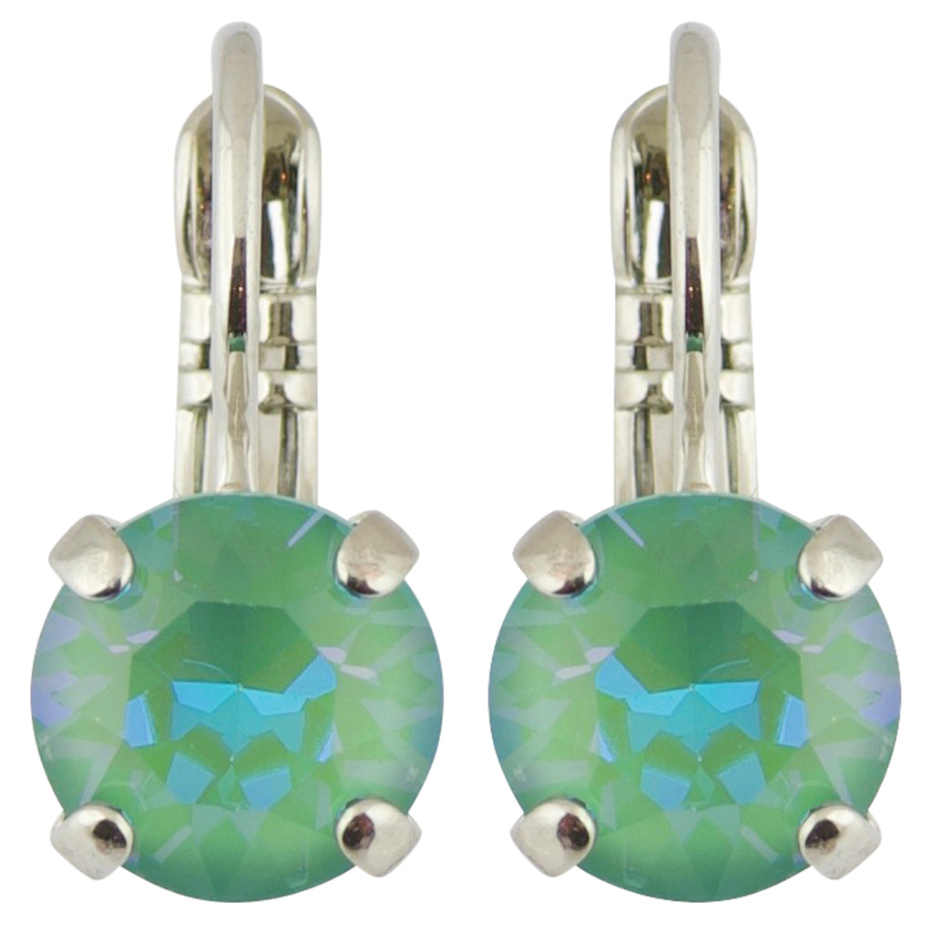 Mariana Sun-Kissed Jade Rhodium Plated Petite Round Crystal Drop Earrings