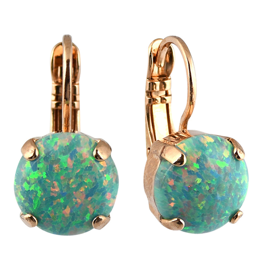 Mariana Jewelry Green Mineral Earrings, Rose Gold Plated with Swarovski Crystal, Nature Collection MAR-E-1445SO M8 RG6