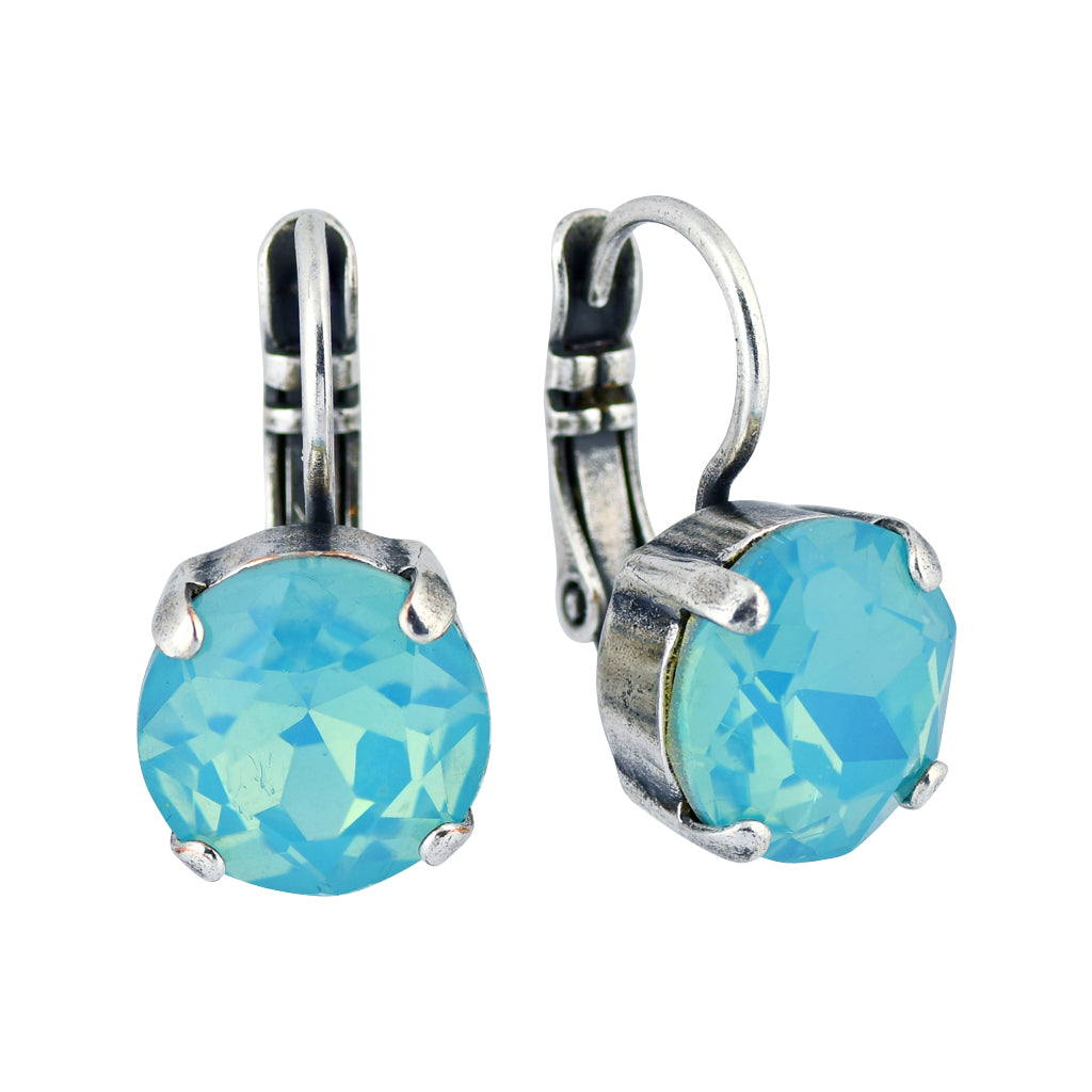 Mariana Jewelry Cotton Candy Silver Plated Round Crystal Drop Earrings